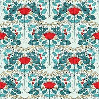 Modèle sans couture vintage floral pour fonds d'écran rétro