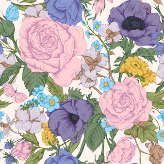 Modèle sans couture vintage floral vector avec roses