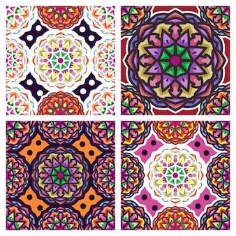 Modèle sans couture vintage mandala avec ornement floral avec la combinaison de couleurs bleu et orange