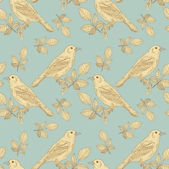Modèle sans couture vintage d'oiseaux