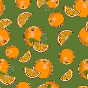 Modèle sans couture vintage avec des oranges entières et des tranches.