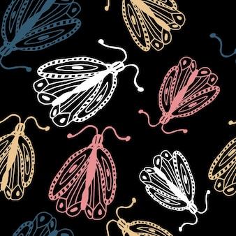 Modèle sans couture vintage avec des papillons dans un style doodle décoration papillons dessinés à la main