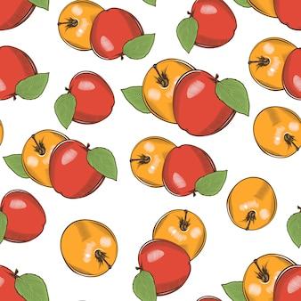 Modèle sans couture vintage avec pommes jaunes et rouges.