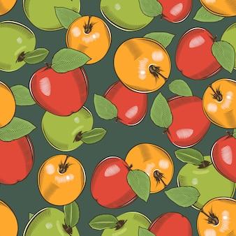 Modèle sans couture vintage avec pommes vertes, jaunes et rouges.