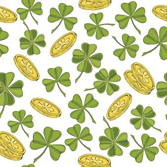 Modèle sans couture vintage pour la saint-patrick. trèfle à quatre feuilles de st. patrick et pièces d'or