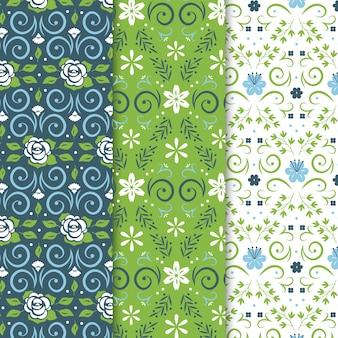 Modèle sans couture vintage printemps avec fleurs et lignes courbes