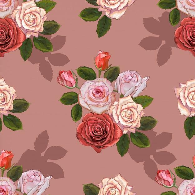 Modèle sans couture vintage de roses