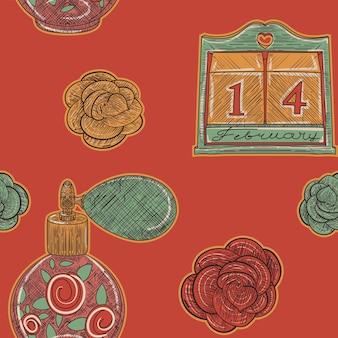 Modèle sans couture vintage rouge. calendrier et parfum d'amour dans un style de croquis rétro