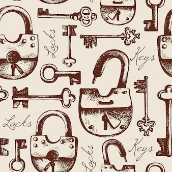 Modèle sans couture vintage de serrures et clés dessinées à la main