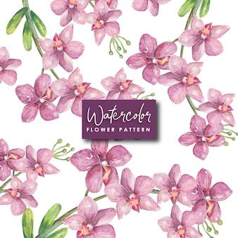 Modèle sans couture violet fleurs aquarelle