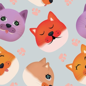 Modèle sans couture avec visage de chat mignon