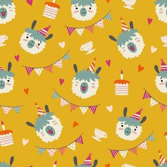 Modèle sans couture avec visage de lamas drôle portant chapeau de fête, gâteaux d'anniversaire, coeurs et drapeaux. fond de vecteur festif dans un style plat. animaux de dessin animé mignon.