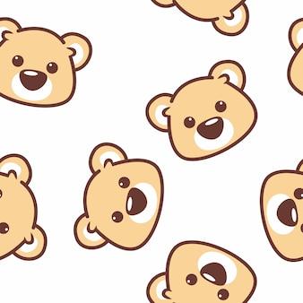Modèle sans couture visage ours mignon