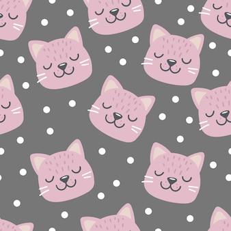Modèle sans couture avec visage de tête de chat rose aux yeux fermés personnage drôle de dessin animé mignon