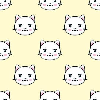 Modèle sans couture avec des visages de chat blanc