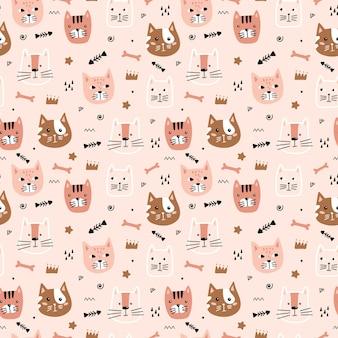 Modèle sans couture avec des visages de chat mignon
