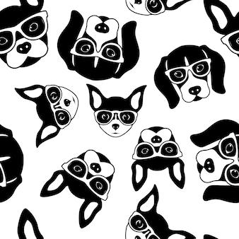 Modèle sans couture de visages de chien mignon