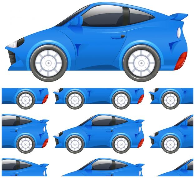Modèle sans couture de voiture isolé sur blanc