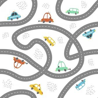 Modèle sans couture de voitures de bébé de style dessin animé. illustration.