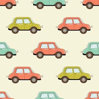 Modèle sans couture avec voitures drôles de style dessin animé
