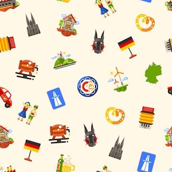 Modèle sans couture de voyage allemagne avec célèbres symboles allemands
