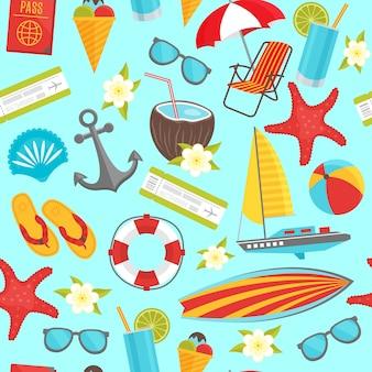 Modèle sans couture de voyage d'été