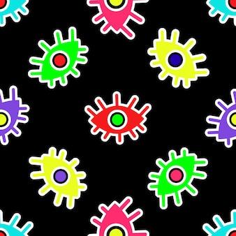 Modèle sans couture d'yeux abstraits multicolores sur une illustration vectorielle de fond noir