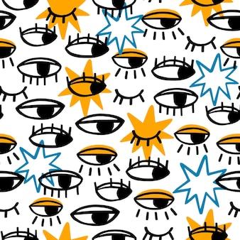 Modèle sans couture avec les yeux et les étoiles.