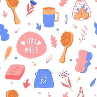 Modèle sans couture zéro déchet. objets ménagers. sac à cordes, brosse corporelle, pot en verre, savon artisanal, boîte à lunch. illustration.