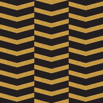 Modèle sans couture zig zag doré sur fond noir