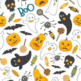 Modèle sans couturemotif avec des personnages et des bonbons drôles d'halloween parfait pour les bannières de flyers d'impression