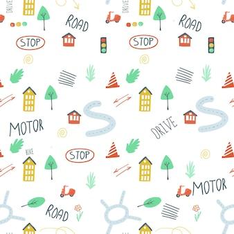 Modèle sans fin défini les feux de circulation des voitures de ville route simple illustration vectorielle de style de dessin à la main