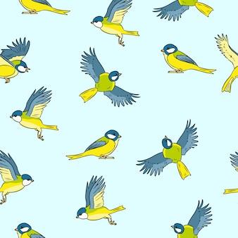 Modèle sans soudure coloré de dessin animé titmouse printemps oiseaux