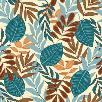 Modèle sans soudure coloré avec des plantes tropicales