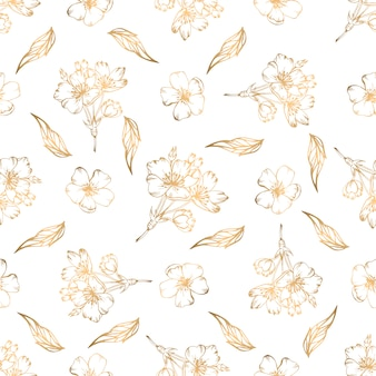Modèle sans soudure dessiné avec des éléments floraux dorés à la main