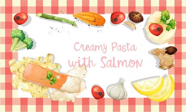 Modèle de sauce à la crème au saumon et aux pâtes