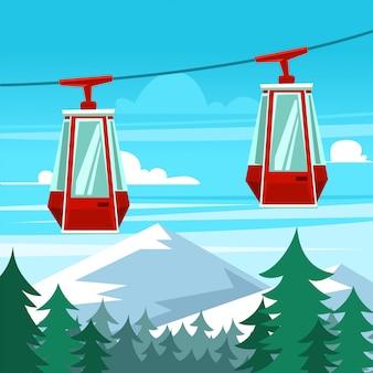 Modèle de scène dessin animé gondole hiver ciel voyage
