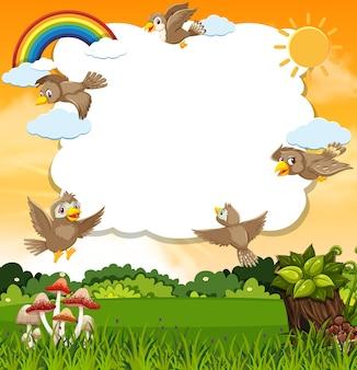 Modèle de scène d'oiseaux dans la nature