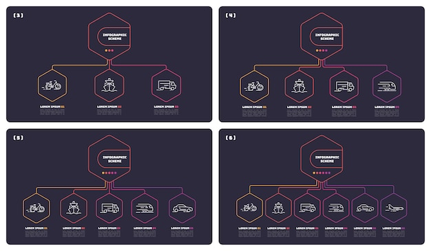 Modèle de schémas d'infographie en ligne mince