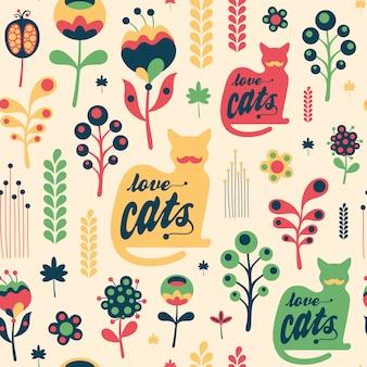 Modèle seamless floral coloré avec des chats d'amour.