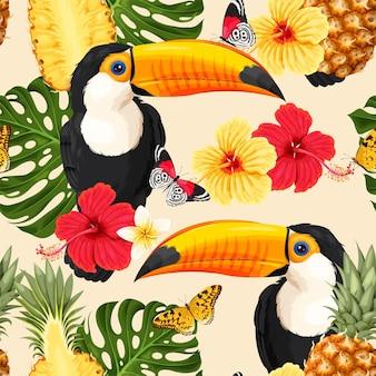 Modèle seamless vector avec fleurs tropicales et toucan
