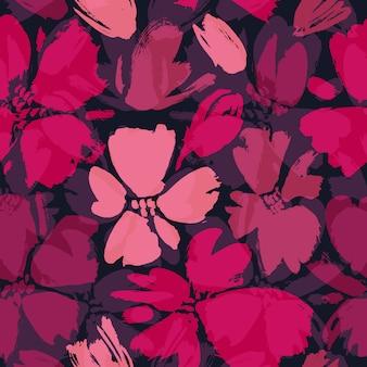 Modèle seamless vector avec main dessinant des fleurs sauvages.