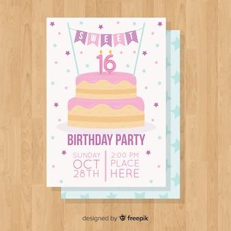 Modèle de seize étoiles de gâteau d'anniversaire