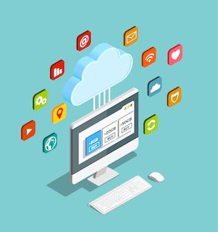 Modèle de service de cloud isométrique