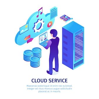 Modèle de service cloud isométrique