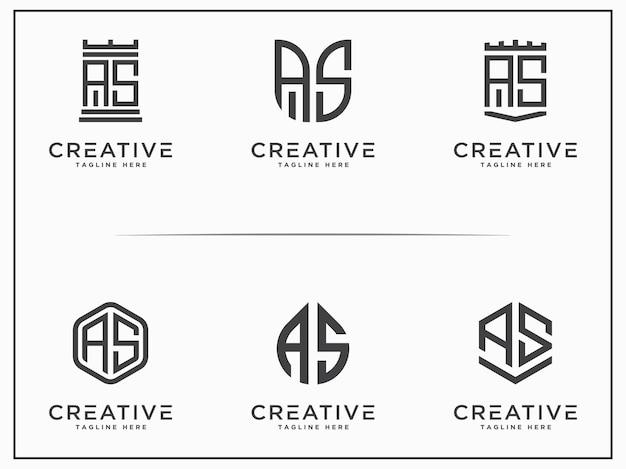 Modèle set design as lettre initiale icône monogramme