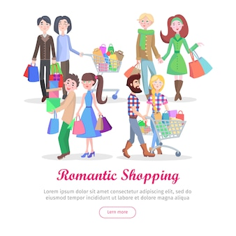 Modèle de shopping romantique concept cartoon vector plate