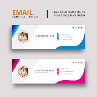 Modèle de signature de courrier électronique bleu et magenta