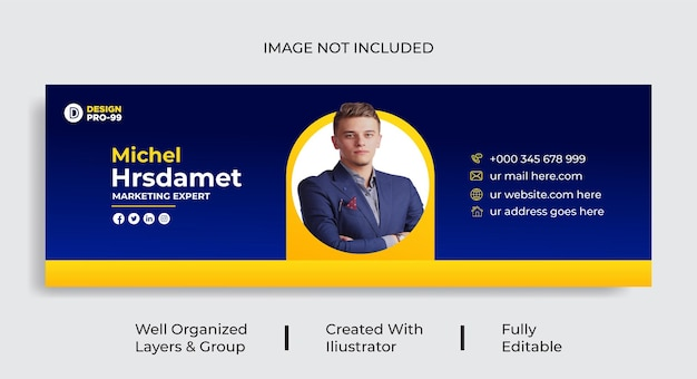 Modèle de signature d'e-mail ou pied de page d'e-mail et vecteur de conception d'entreprise de couverture personnelle