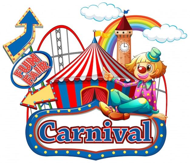 Modèle de signe de carnaval avec clown heureux et manèges